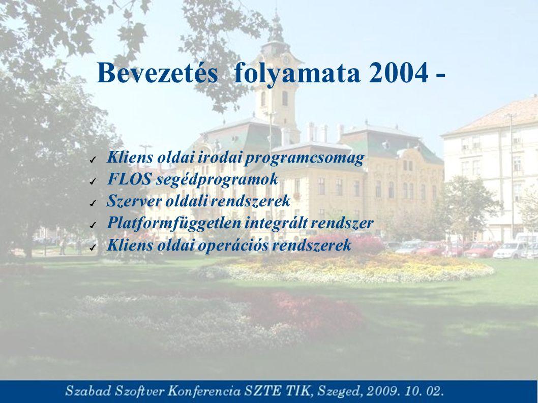 Bevezetés folyamata 2004 - ✔ Kliens oldai irodai programcsomag ✔ FLOS segédprogramok ✔ Szerver oldali rendszerek ✔ Platformfüggetlen integrált rendszer ✔ Kliens oldai operációs rendszerek