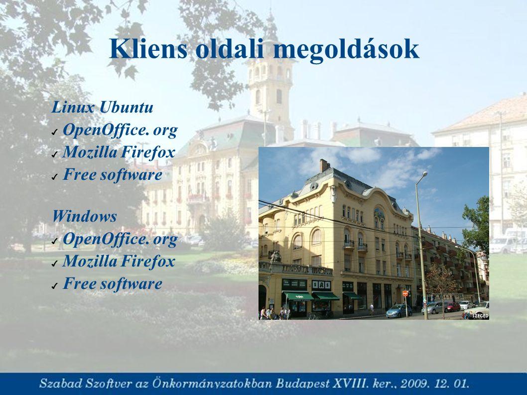 Linux Ubuntu ✔ OpenOffice. org ✔ Mozilla Firefox ✔ Free software Windows ✔ OpenOffice. org ✔ Mozilla Firefox ✔ Free software Kliens oldali megoldások