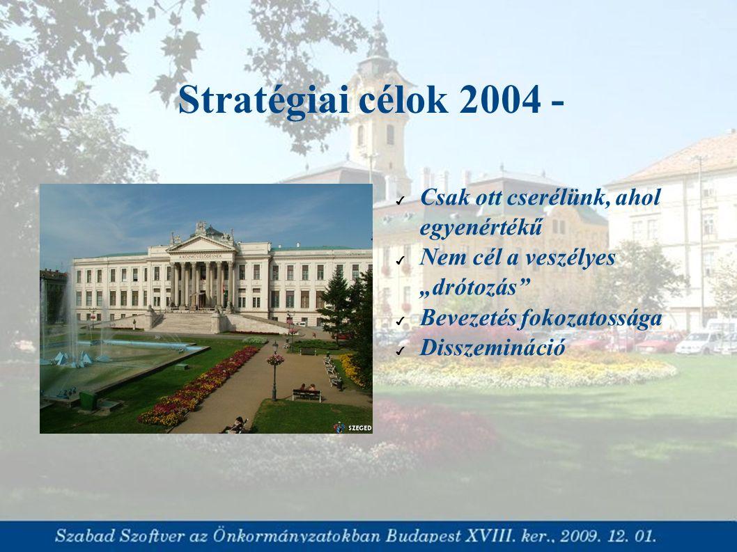 """Stratégiai célok 2004 - ✔ Csak ott cserélünk, ahol egyenértékű ✔ Nem cél a veszélyes """"drótozás"""" ✔ Bevezetés fokozatossága ✔ Disszemináció"""