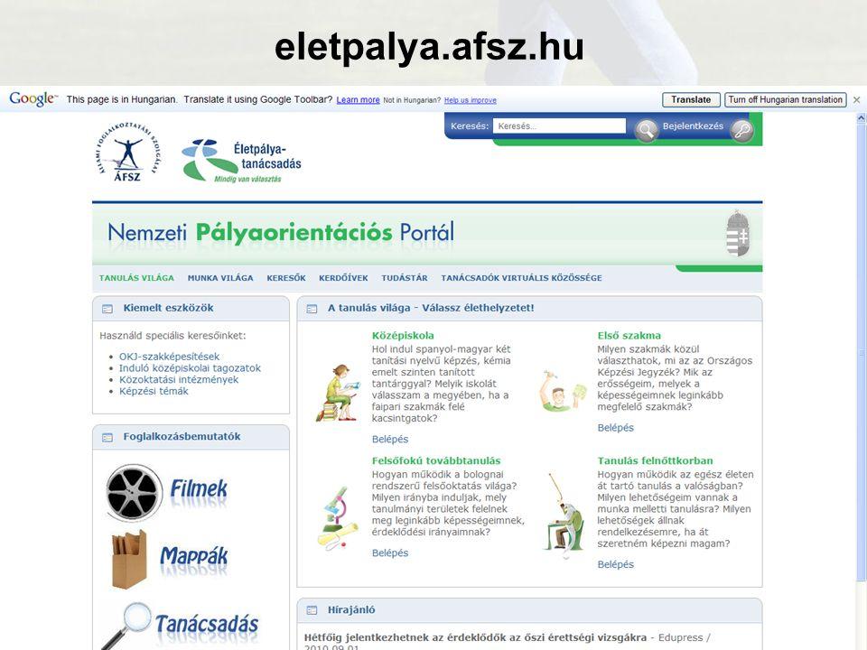 előadó neve elérhetősége eletpalya.afsz.hu Tartalom