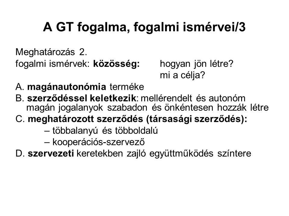 A GT fogalma, fogalmi ismérvei/3 Meghatározás 2. fogalmi ismérvek: közösség: hogyan jön létre? mi a célja? A. magánautonómia terméke B. szerződéssel k