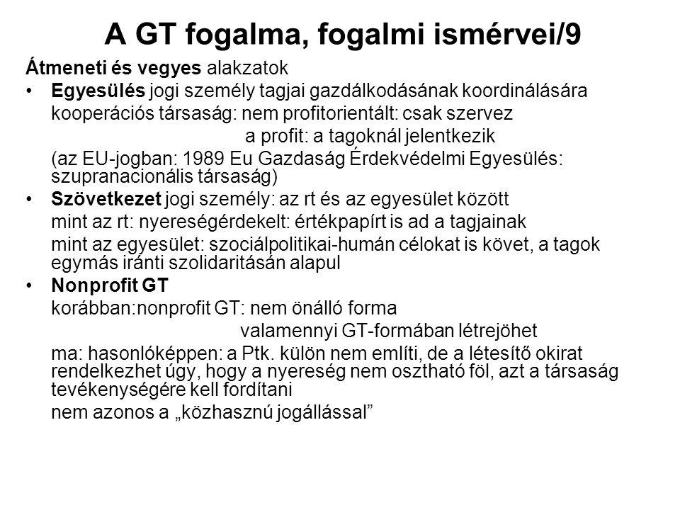 A GT fogalma, fogalmi ismérvei/9 Átmeneti és vegyes alakzatok Egyesülés jogi személy tagjai gazdálkodásának koordinálására kooperációs társaság: nem p