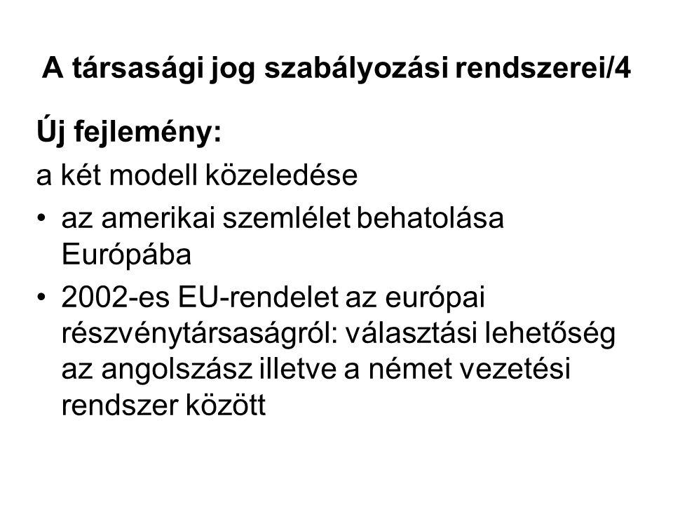 A társasági jog szabályozási rendszerei/4 Új fejlemény: a két modell közeledése az amerikai szemlélet behatolása Európába 2002-es EU-rendelet az európ