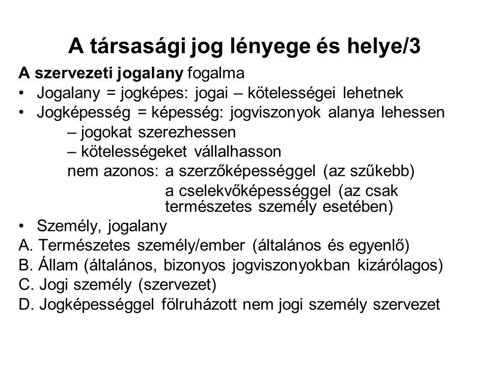 A társasági jog lényege és helye/3 A szervezeti jogalany fogalma Jogalany = jogképes: jogai – kötelességei lehetnek Jogképesség = képesség: jogviszony