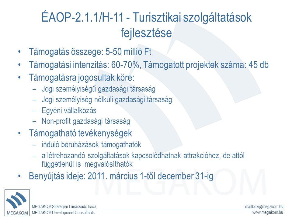 MEGAKOM Stratégiai Tanácsadó Iroda www.megakom.hu MEGAKOM Development Consultants mailbox@megakom.hu ÉAOP-2.1.1/H-11 - Turisztikai szolgáltatások fejlesztése Támogatás összege: 5-50 millió Ft Támogatási intenzitás: 60-70%, Támogatott projektek száma: 45 db Támogatásra jogosultak köre: –Jogi személyiségű gazdasági társaság –Jogi személyiség nélküli gazdasági társaság –Egyéni vállalkozás –Non-profit gazdasági társaság Támogatható tevékenységek –induló beruházások támogathatók –a létrehozandó szolgáltatások kapcsolódhatnak attrakcióhoz, de attól függetlenül is megvalósíthatók Benyújtás ideje: 2011.
