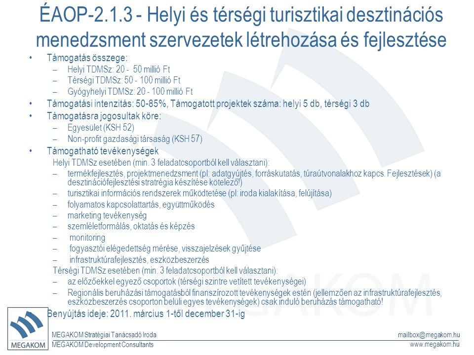 MEGAKOM Stratégiai Tanácsadó Iroda www.megakom.hu MEGAKOM Development Consultants mailbox@megakom.hu ÉAOP-2.1.3 - Helyi és térségi turisztikai desztinációs menedzsment szervezetek létrehozása és fejlesztése Támogatás összege: –Helyi TDMSz: 20 - 50 millió Ft –Térségi TDMSz: 50 - 100 millió Ft –Gyógyhelyi TDMSz: 20 - 100 millió Ft Támogatási intenzitás: 50-85%, Támogatott projektek száma: helyi 5 db, térségi 3 db Támogatásra jogosultak köre: –Egyesület (KSH 52) –Non-profit gazdasági társaság (KSH 57) Támogatható tevékenységek Helyi TDMSz esetében (min.