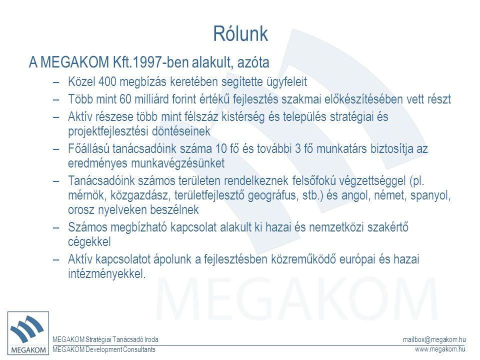 MEGAKOM Stratégiai Tanácsadó Iroda www.megakom.hu MEGAKOM Development Consultants mailbox@megakom.hu Rólunk A MEGAKOM Kft.1997-ben alakult, azóta –Közel 400 megbízás keretében segítette ügyfeleit –Több mint 60 milliárd forint értékű fejlesztés szakmai előkészítésében vett részt –Aktív részese több mint félszáz kistérség és település stratégiai és projektfejlesztési döntéseinek –Főállású tanácsadóink száma 10 fő és további 3 fő munkatárs biztosítja az eredményes munkavégzésünket –Tanácsadóink számos területen rendelkeznek felsőfokú végzettséggel (pl.