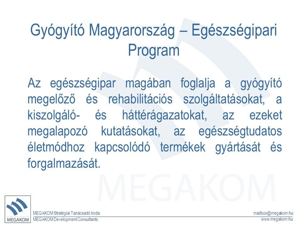 MEGAKOM Stratégiai Tanácsadó Iroda www.megakom.hu MEGAKOM Development Consultants mailbox@megakom.hu Gyógyító Magyarország – Egészségipari Program Az egészségipar magában foglalja a gyógyító megelőző és rehabilitációs szolgáltatásokat, a kiszolgáló- és háttérágazatokat, az ezeket megalapozó kutatásokat, az egészségtudatos életmódhoz kapcsolódó termékek gyártását és forgalmazását.