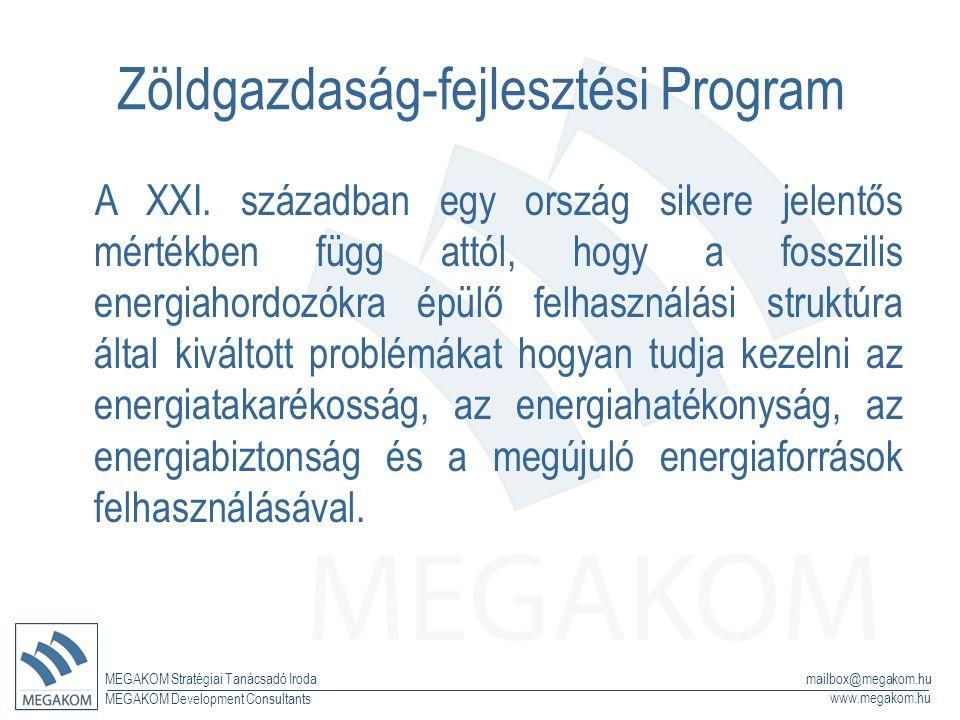 MEGAKOM Stratégiai Tanácsadó Iroda www.megakom.hu MEGAKOM Development Consultants mailbox@megakom.hu Zöldgazdaság-fejlesztési Program A XXI. században