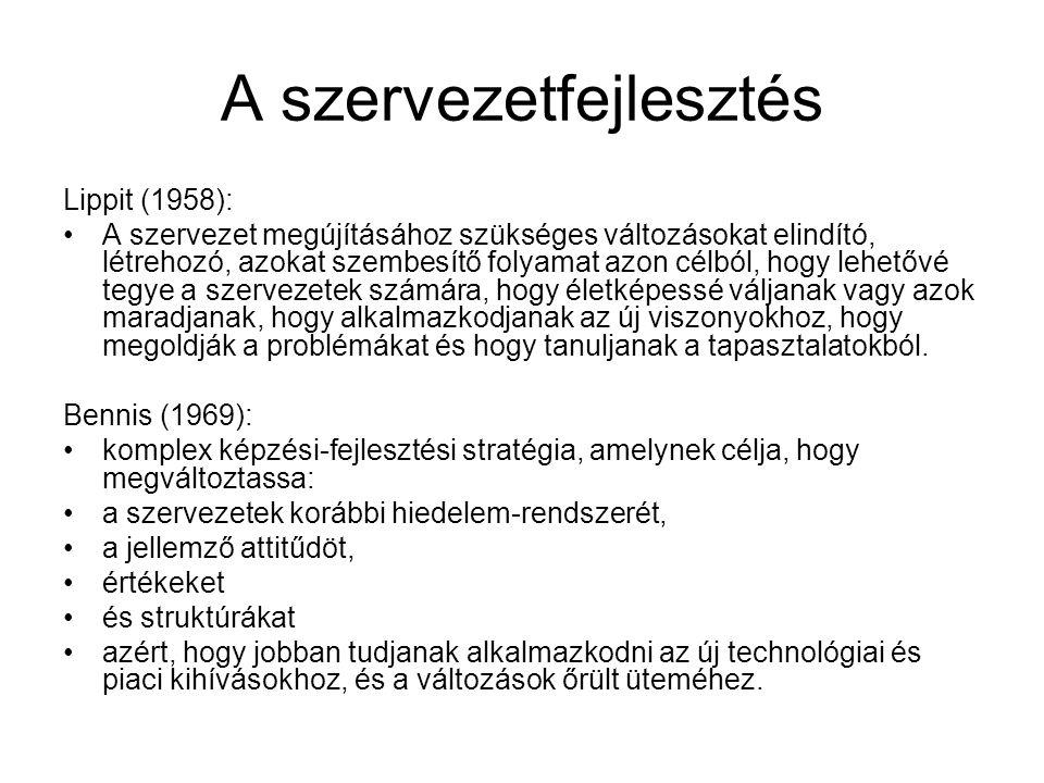 A szervezetfejlesztés Lippit (1958): A szervezet megújításához szükséges változásokat elindító, létrehozó, azokat szembesítő folyamat azon célból, hog