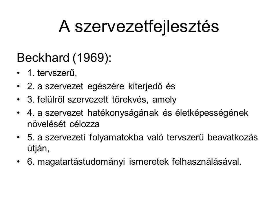 A szervezetfejlesztés Beckhard (1969): 1. tervszerű, 2. a szervezet egészére kiterjedő és 3. felülről szervezett törekvés, amely 4. a szervezet hatéko
