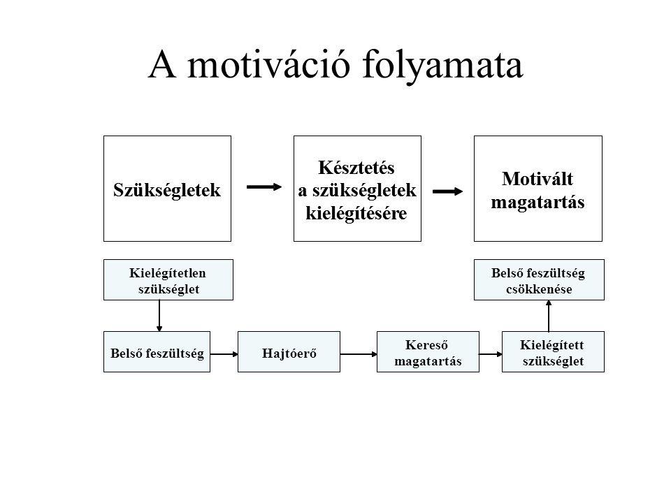 A motiváció folyamata Szükségletek Késztetés a szükségletek kielégítésére Motivált magatartás Kielégítetlen szükséglet Belső feszültség Kielégített sz
