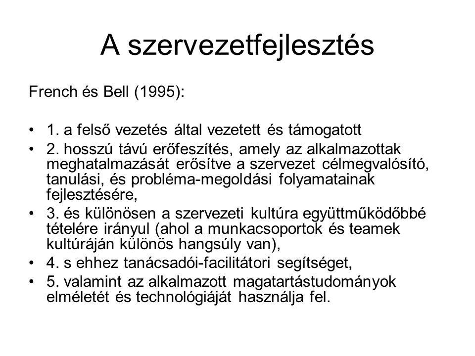 A szervezetfejlesztés French és Bell (1995): 1. a felső vezetés által vezetett és támogatott 2.