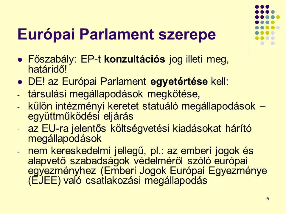 19 Európai Parlament szerepe Főszabály: EP-t konzultációs jog illeti meg, határidő! DE! az Európai Parlament egyetértése kell: - társulási megállapodá