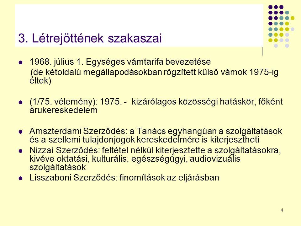 4 3. Létrejöttének szakaszai 1968. július 1. Egységes vámtarifa bevezetése (de kétoldalú megállapodásokban rögzített külső vámok 1975-ig éltek) (1/75.