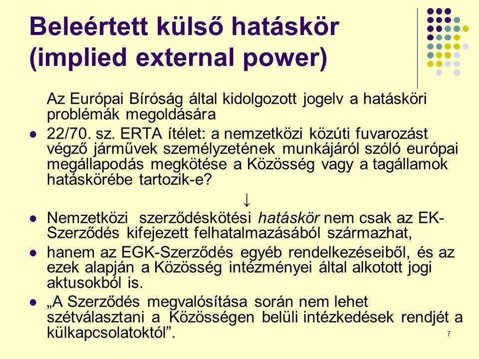 7 Beleértett külső hatáskör (implied external power) Az Európai Bíróság által kidolgozott jogelv a hatásköri problémák megoldására 22/70. sz. ERTA íté