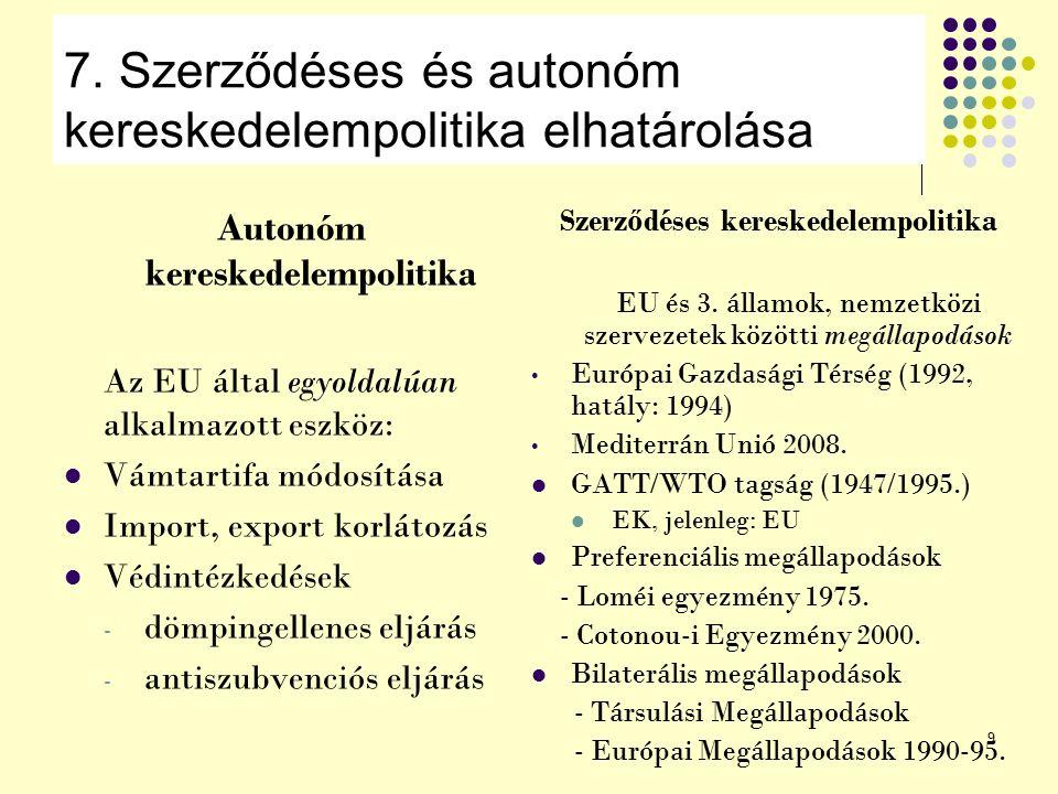 9 7. Szerződéses és autonóm kereskedelempolitika elhatárolása Autonóm kereskedelempolitika Az EU által egyoldalúan alkalmazott eszköz: Vámtartifa módo