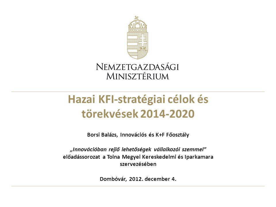 A főbb gyengeségek Magyarországon a GDP-arányos K+F ráfordítások - javarészt a mindenkori éves költségvetések korlátozott mozgástere miatt – csak lassan növekednek – hiányoznak a nemzetközileg versenyképes tudásközpontok; széttöredezett, nem fókuszált K+F a közfinanszírozású kutatóhelyeken; hullámzó az alap és alkalmazott kutatás-finanszírozás A vállalkozási szektor KFI tevékenysége egyszerre koncentrált és a szétaprózott – A hazai középvállalati szektor gyenge, a hazai adaptív innovációs hatásfoka rossz, kevés a piacvezérelt fejlesztés Gyenge szektorközi kapcsolatok Oktatási rendszer folyamatos reformja Bizonytalan adózási környezet A KFI-intézményrendszerben többnyire hiányzik az innováció- menedzsment szemlélet és kompetencia