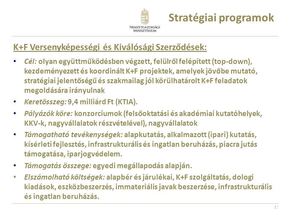 17 K+F Versenyképességi és Kiválósági Szerződések: Cél: olyan együttműködésben végzett, felülről felépített (top-down), kezdeményezett és koordinált K+F projektek, amelyek jövőbe mutató, stratégiai jelentőségű és szakmailag jól körülhatárolt K+F feladatok megoldására irányulnak Keretösszeg: 9,4 milliárd Ft (KTIA).