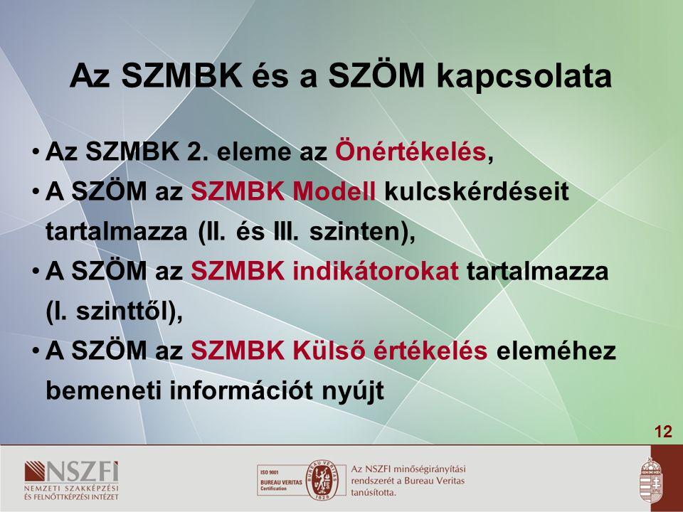12 Az SZMBK és a SZÖM kapcsolata Az SZMBK 2.
