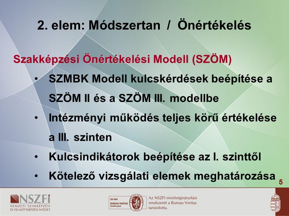 5 2. elem: Módszertan / Önértékelés Önértékelési Szakképzési Önértékelési Modell (SZÖM) SZMBK Modell kulcskérdések beépítése a SZÖM II és a SZÖM III.