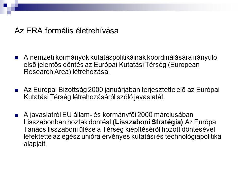 Az ERA formális életrehívása A nemzeti kormányok kutatáspolitikáinak koordinálására irányuló elsõ jelentõs döntés az Európai Kutatási Térség (European Research Area) létrehozása.