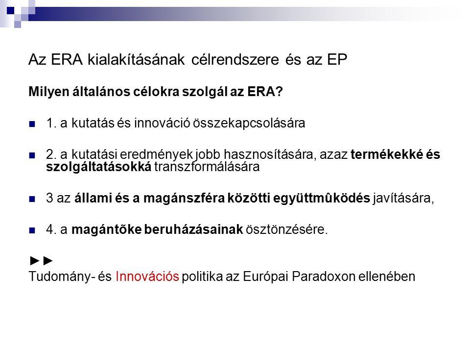 Az ERA kialakításának célrendszere és az EP Milyen általános célokra szolgál az ERA? 1. a kutatás és innováció összekapcsolására 2. a kutatási eredmén