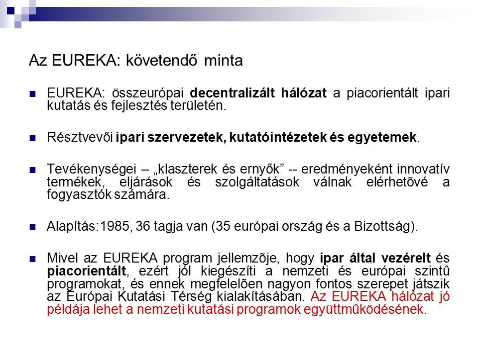 Az EUREKA: követendő minta EUREKA: összeurópai decentralizált hálózat a piacorientált ipari kutatás és fejlesztés területén. Résztvevői ipari szerveze