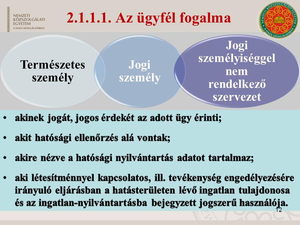 Természetes személy Jogi személy Jogi személyiséggel nem rendelkező szervezet 12 2.1.1.1.