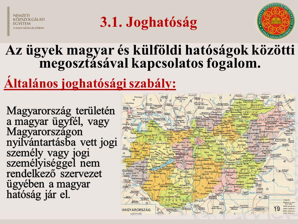 3.1. Joghatóság Az ügyek magyar és külföldi hatóságok közötti megosztásával kapcsolatos fogalom.