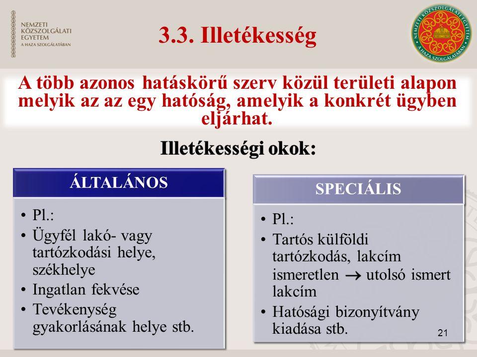 3.3. Illetékesség ÁLTALÁNOS Pl.: Ügyfél lakó- vagy tartózkodási helye, székhelye Ingatlan fekvése Tevékenység gyakorlásának helye stb. SPECIÁLIS 21