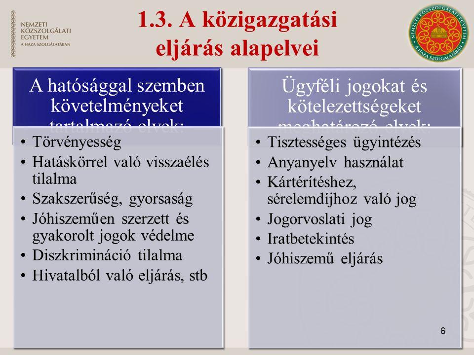1.3. A közigazgatási eljárás alapelvei A hatósággal szemben követelményeket tartalmazó elvek: Törvényesség Hatáskörrel való visszaélés tilalma Szaksze