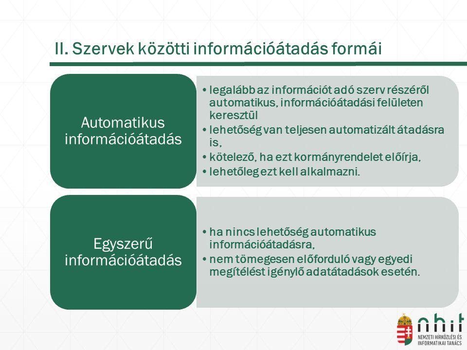 II. Szervek közötti információátadás formái legalább az információt adó szerv részéről automatikus, információátadási felületen keresztül lehetőség va