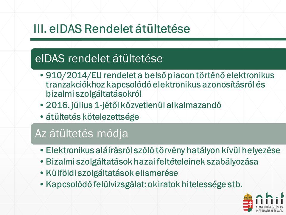 III. eIDAS Rendelet átültetése eIDAS rendelet átültetése 910/2014/EU rendelet a belső piacon történő elektronikus tranzakciókhoz kapcsolódó elektronik