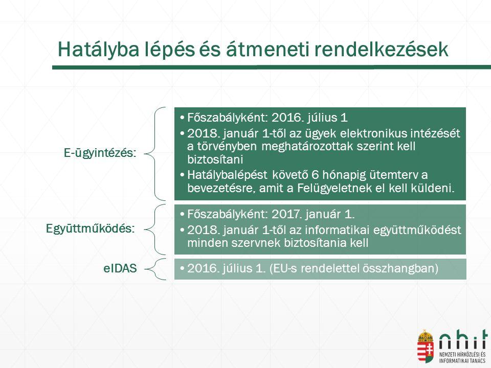 Hatályba lépés és átmeneti rendelkezések E-ügyintézés: Főszabályként: 2016.