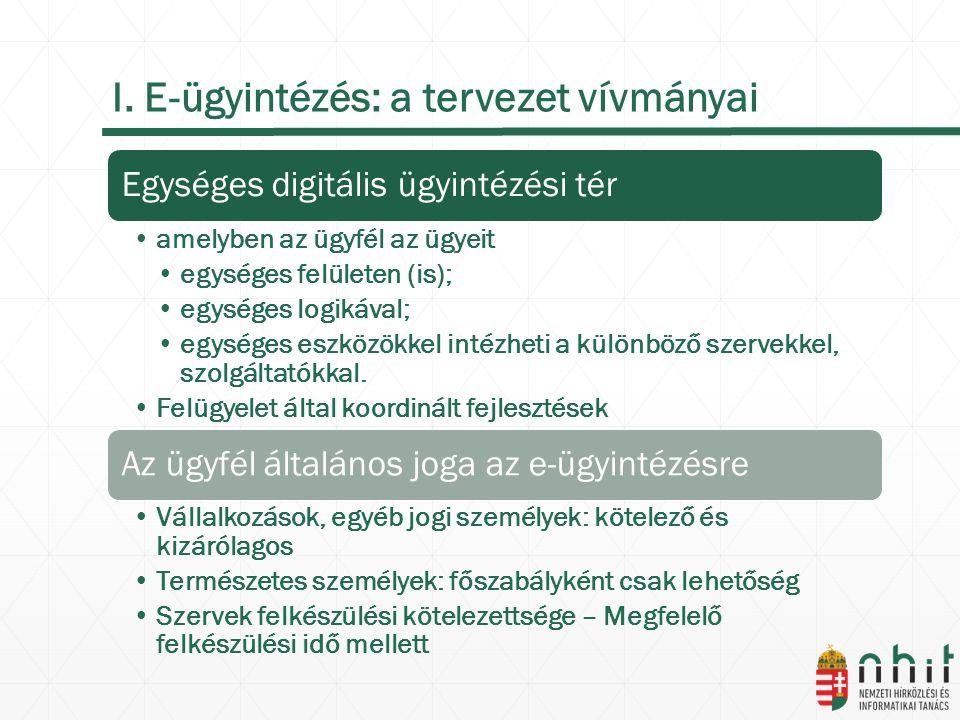 I. E-ügyintézés: a tervezet vívmányai Egységes digitális ügyintézési tér amelyben az ügyfél az ügyeit egységes felületen (is); egységes logikával; egy