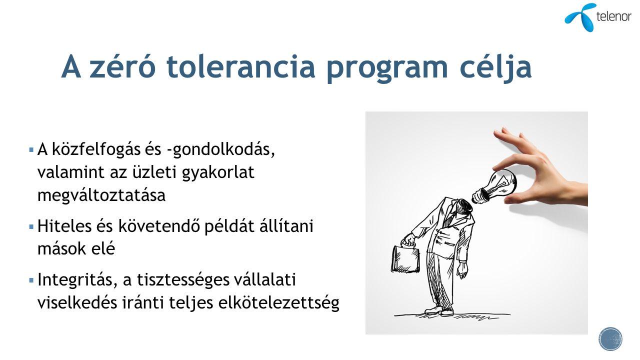 A zéró tolerancia program célja  A közfelfogás és -gondolkodás, valamint az üzleti gyakorlat megváltoztatása  Hiteles és követendő példát állítani m