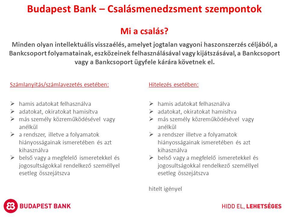 Budapest Bank – Csalásmenedzsment szempontok Mi a csalás? Minden olyan intellektuális visszaélés, amelyet jogtalan vagyoni haszonszerzés céljából, a B