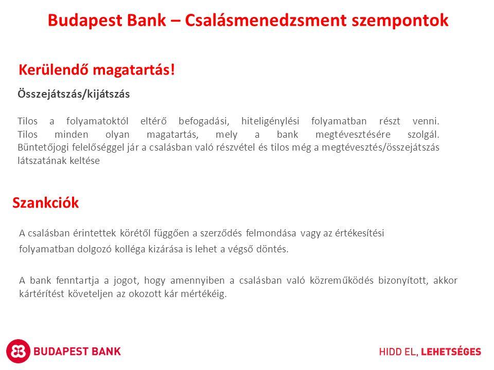 Budapest Bank – Csalásmenedzsment szempontok Kerülendő magatartás! Összejátszás/kijátszás Tilos a folyamatoktól eltérő befogadási, hiteligénylési foly