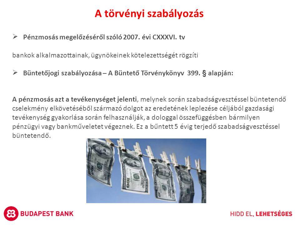  Pénzmosás megelőzéséről szóló 2007. évi CXXXVI. tv bankok alkalmazottainak, ügynökeinek kötelezettségét rögzíti  Büntetőjogi szabályozása – A Bünte