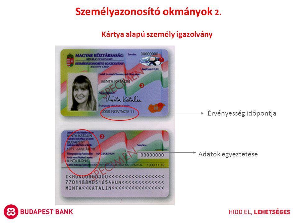 Kártya alapú személy igazolvány Érvényesség időpontja Adatok egyeztetése Személyazonosító okmányok 2.