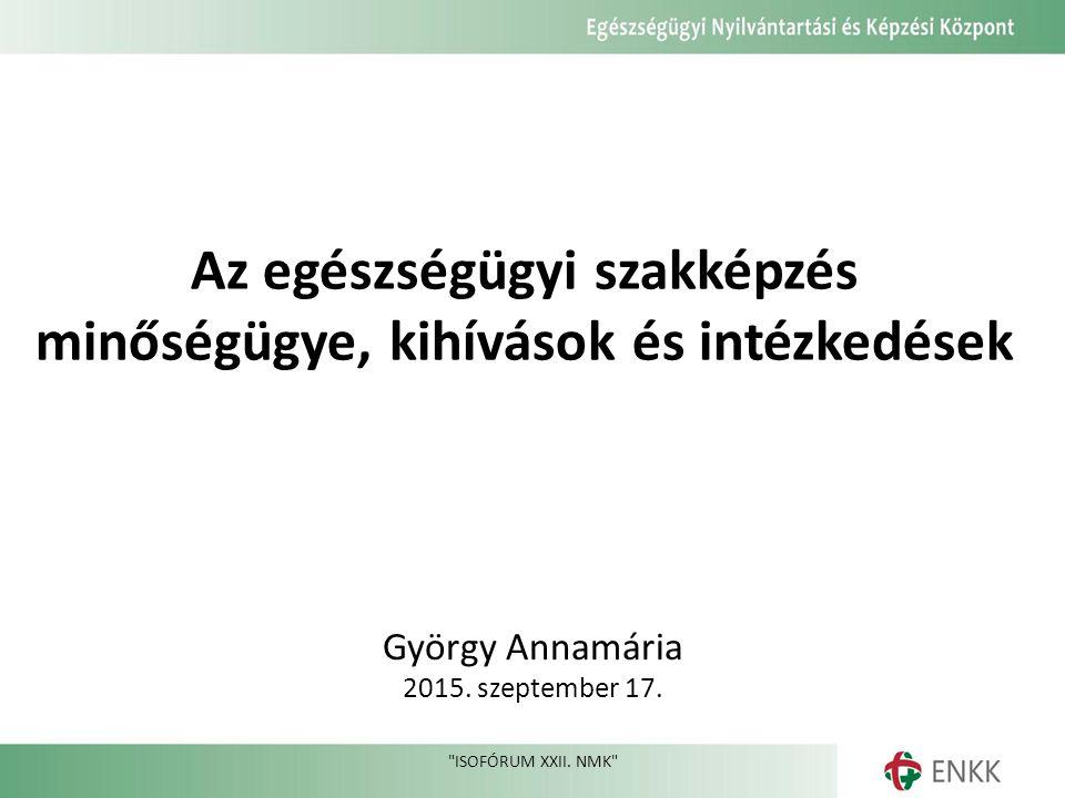 Az egészségügyi szakképzés minőségügye, kihívások és intézkedések György Annamária 2015.