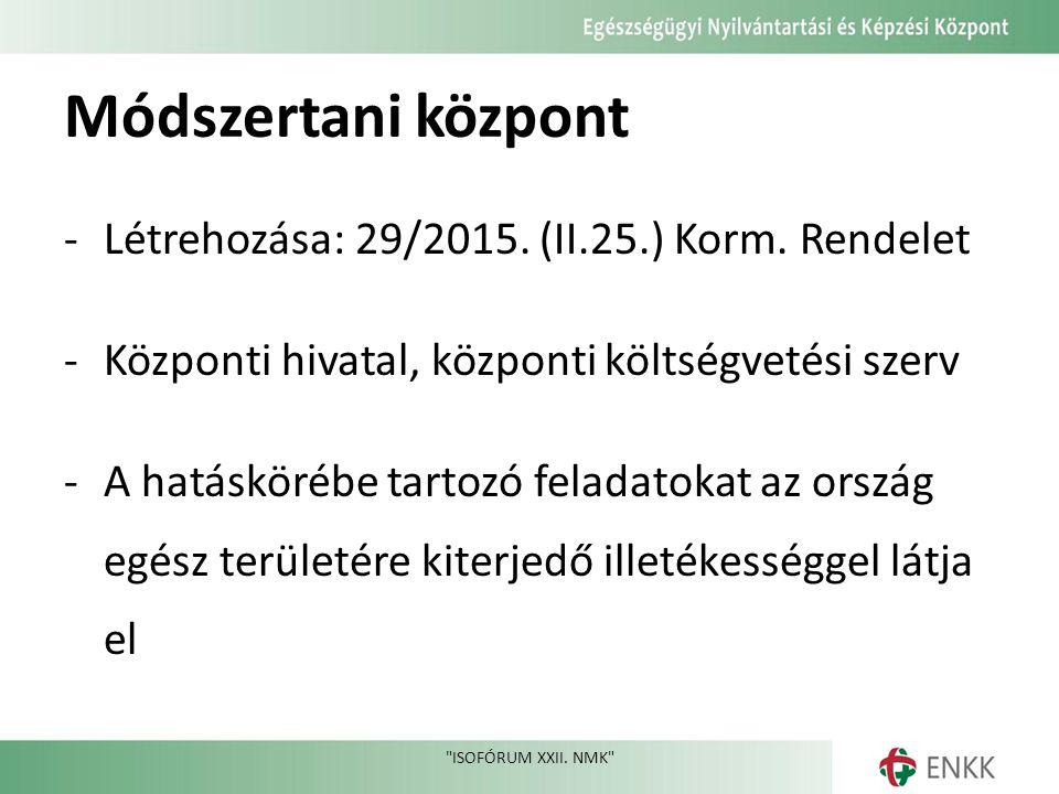 Módszertani központ ‐Létrehozása: 29/2015. (II.25.) Korm.