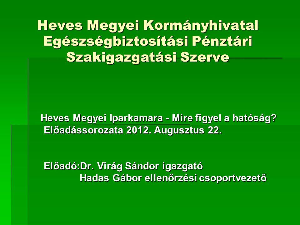 Heves Megyei Kormányhivatal Egészségbiztosítási Pénztári Szakigazgatási Szerve Heves Megyei Iparkamara - Mire figyel a hatóság? Előadássorozata 2012.