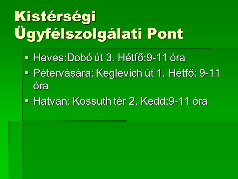 Kistérségi Ügyfélszolgálati Pont  Heves:Dobó út 3.