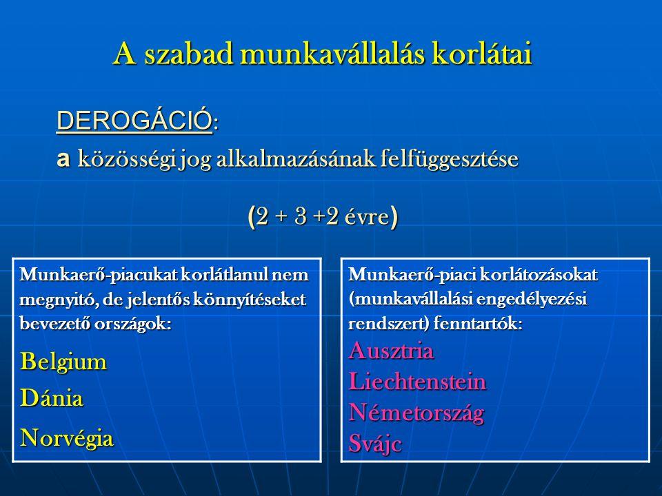A szabad munkavállalás korlátai DEROGÁCIÓ : a közösségi jog alkalmazásának felfüggesztése ( 2 + 3 +2 évre ) Munkaer ő -piaci korlátozásokat (munkaváll