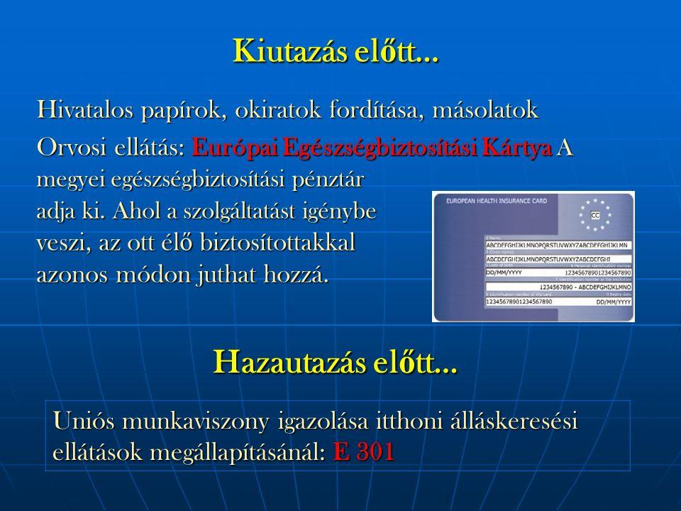 Kiutazás el ő tt… Orvosi ellátás: Európai Egészségbiztosítási Kártya A megyei egészségbiztosítási pénztár adja ki.