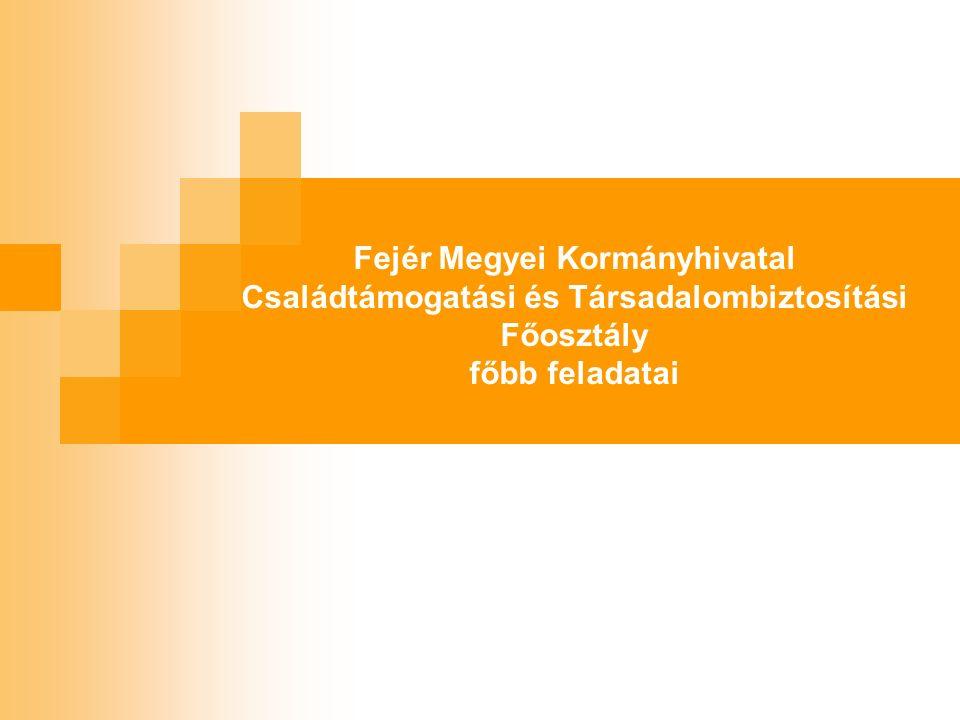 Fejér Megyei Kormányhivatal Családtámogatási és Társadalombiztosítási Főosztály főbb feladatai
