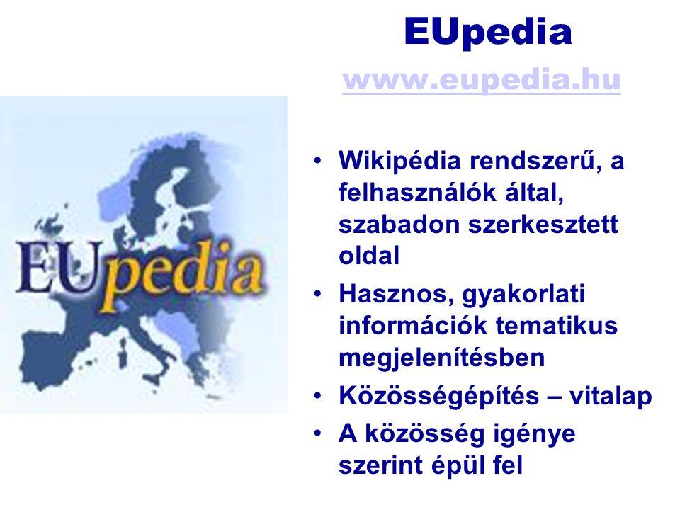 EUpedia www.eupedia.hu www.eupedia.hu Wikipédia rendszerű, a felhasználók által, szabadon szerkesztett oldal Hasznos, gyakorlati információk tematikus megjelenítésben Közösségépítés – vitalap A közösség igénye szerint épül fel