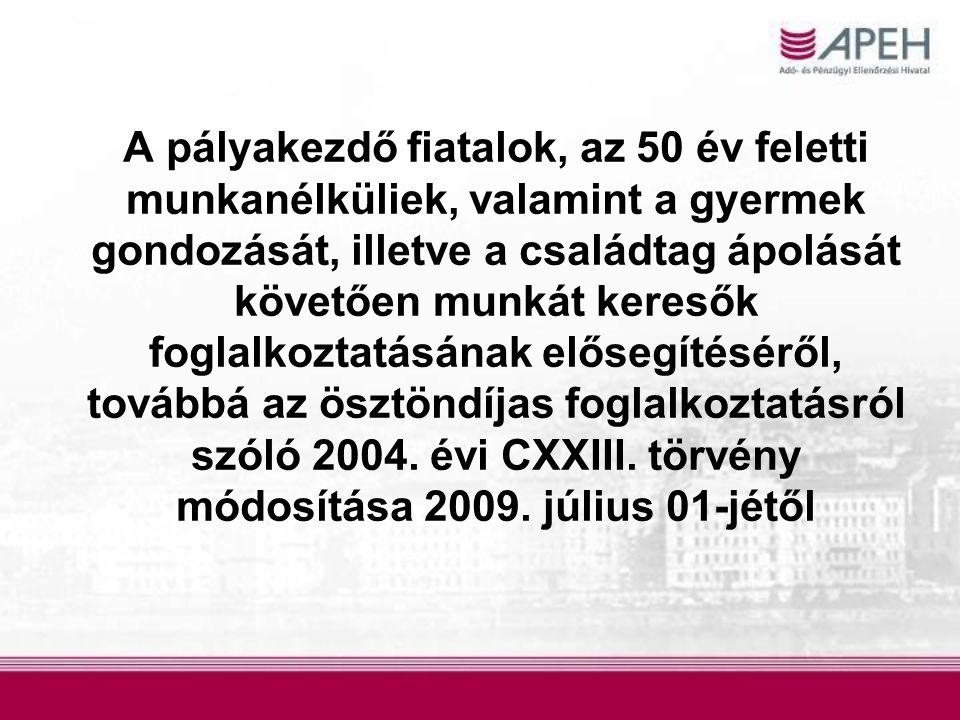 A pályakezdő fiatalok, az 50 év feletti munkanélküliek, valamint a gyermek gondozását, illetve a családtag ápolását követően munkát keresők foglalkoztatásának elősegítéséről, továbbá az ösztöndíjas foglalkoztatásról szóló 2004.